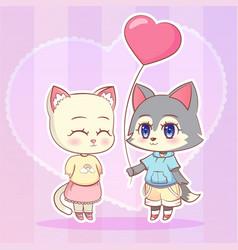 sweet little cute kawaii anime cartoon puppy wolf vector image vector image