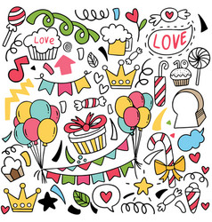 064-hand drawn party doodle vector