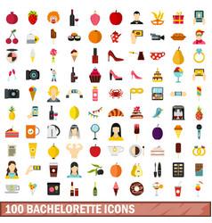 100 bachelorette icons set flat style vector