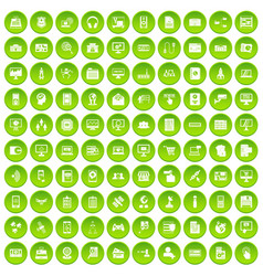 100 database icons set green circle vector