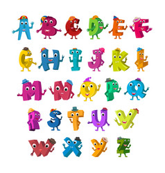 abc funny alphabet characters alive letters with vector image