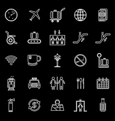 Airport line icons on black background vector
