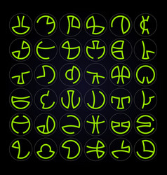 Alien alphabet vector