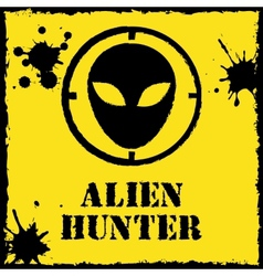 alien hunter logo on red yellow vector image vector image