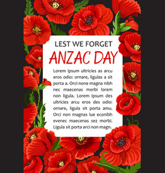 anzac day poppy lest we forget poster vector image