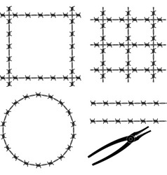 Barbed wire stencil vector