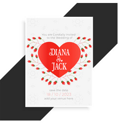 beautiful heart wedding card design vector image