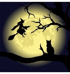 black cat on tree at full moon vector image