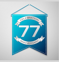 Blue pennant with inscription seventy seven years vector