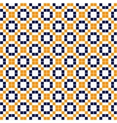 Blue yellow and white simple mosaic tiles seamless vector image