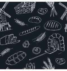 Bread hand drawn seamless pattern vector image