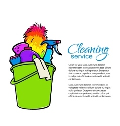 Bucket with cleaning cleaners Cleaning services vector image