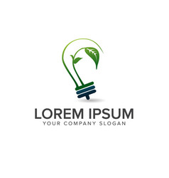 bulb green leaf logo design concept template vector image