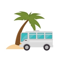 bus and palm tree vector image
