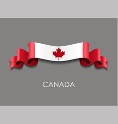canadian flag wavy ribbon background vector image