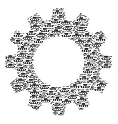 Cogwheel composition of military tank icons vector