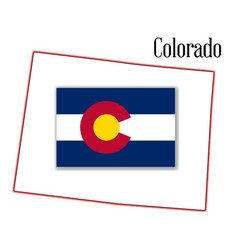 Colorado state map and flag vector