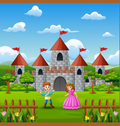 Couple a princess and prince in front of the castl vector