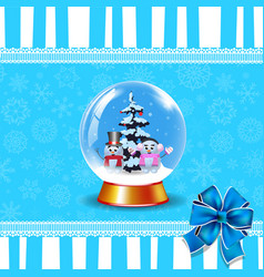 crystal snow globe with cute snowmen and fir tree vector image