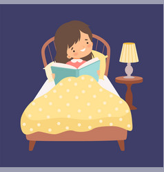 Cute girl reading a bedtime story in bed at vector