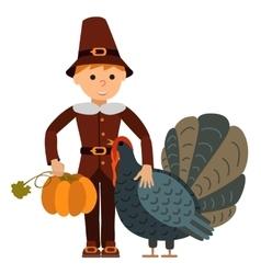 Cute little boy big turkey and vector