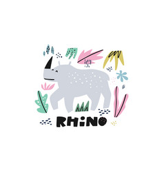 cute rhinoceros flat hand drawn vector image