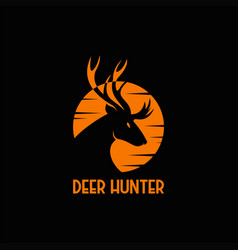 deer hunter sunset logo vector image
