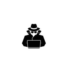 Detective hidden black hacker laptop logo vector