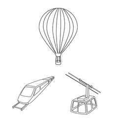 Different types of transport outline icons in set vector