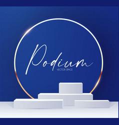 elenagt 3d circle blue podium with gold elements vector image