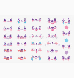 emojis kawaii cartoon comic animals faces set vector image