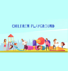 family playground kids composition vector image
