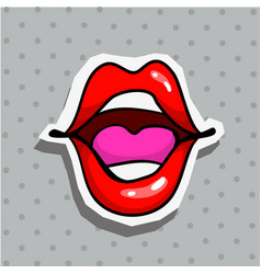 fashion patch badge with sexy screaming with vector image