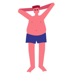 Fat guy in trunks and sunglasses sunbathing vector