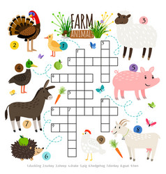 Ffarm animals crossword for kids vector