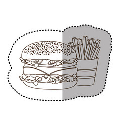 figure hamburger and fries french icon vector image