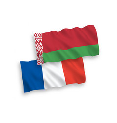 flags france and belarus on a white background vector image