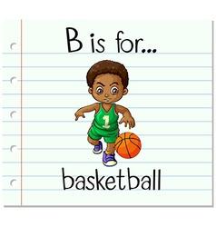 Flashcard alphabet B is for basketball vector