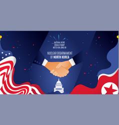 flat horizontal banner handshake flag korea vector image