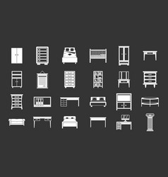 Furniture icon set grey vector