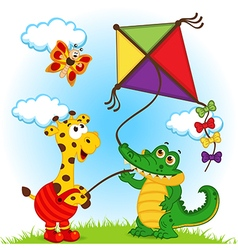 Giraffe and crocodile launching kite vector