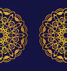 Golden mandala on blue background round mandala vector