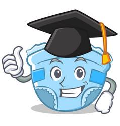 Graduation baby diaper character cartoon vector