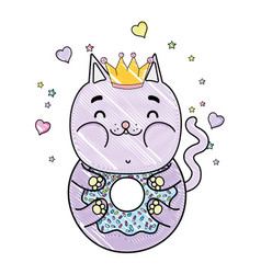 Grated kawaii funny cat donut with hearts and vector