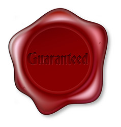 guaranteed red wax seal vector image