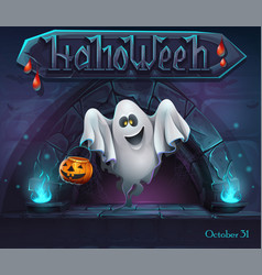 Halloween background with ghost with pumpkin vector