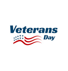 Hand drawn greeting card veterans day lettering vector