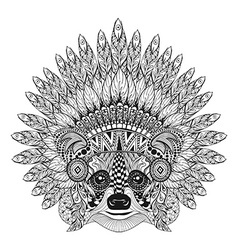 Hand drawn raccoon in feathered war bonnet vector