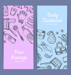 Hand drawn spa elements vertical web vector