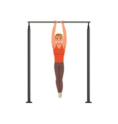 Handsome male gymnast training on horizontal bar vector